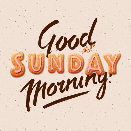 Illustration for Good morning Sunday background illustration. - Royalty Free Image