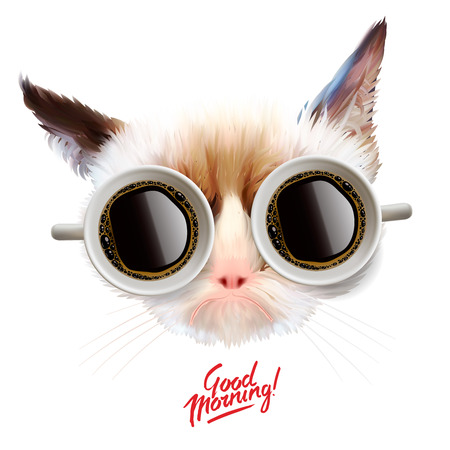 Illustration pour  Funny cat with cups of coffee glasses, illustration. - image libre de droit