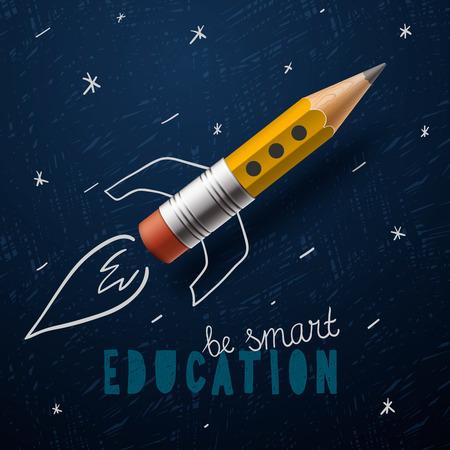 Illustration pour Smart education. Rocket ship launch with pencil - image libre de droit