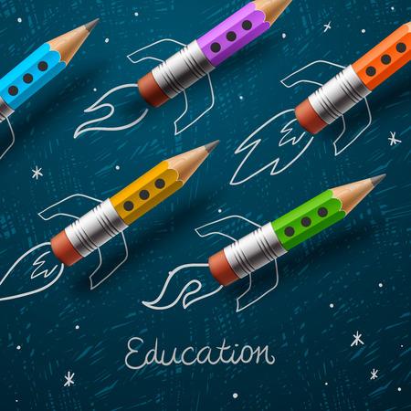 Illustration pour Education. Rocket ship launch with pencils  - image libre de droit