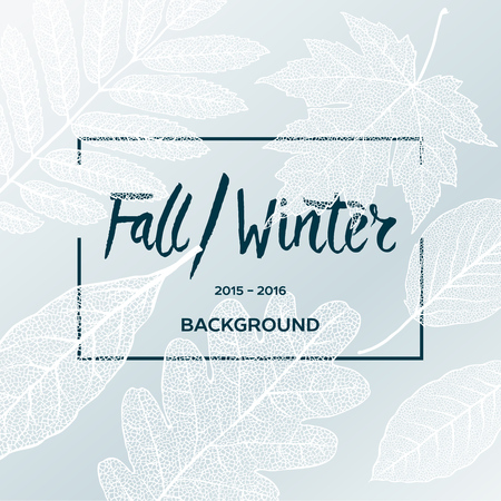 Illustration for Fall Winter sale poster with leaves background and simple text, vector illustration. - Royalty Free Image