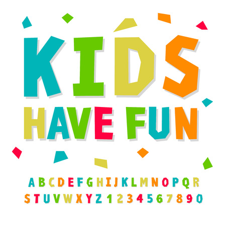 Illustration for Creative kids funny alphabet and numbers, vector illustration. - Royalty Free Image