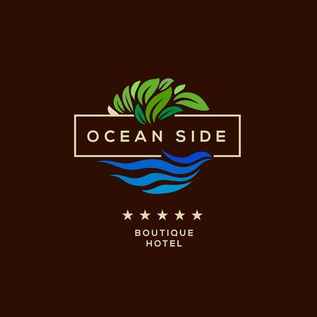 Illustration for Logo for boutique hotel, ocean view resort, logo design, vector illustration. - Royalty Free Image