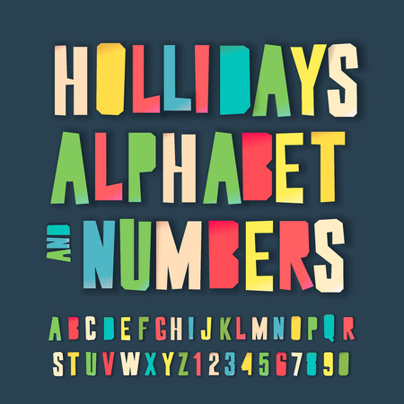 Illustration for Holidays alphabet and numbers, colorful art and craft design, cut out by scissors from paper. Vector illustration. - Royalty Free Image
