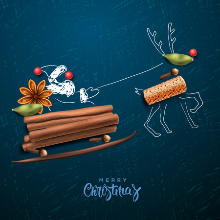 Illustration for Santa Claus flying in a sleigh - Royalty Free Image