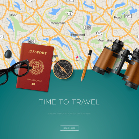 Ilustración de Travel and adventure template, time to travel, for tourism website, illustration. - Imagen libre de derechos