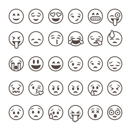 Illustration pour Set of outline emoticons, emoji isolated on white background, vector illustration. - image libre de droit