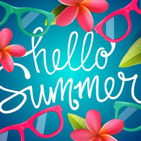 Illustration pour Hello summer, colorful background with Frangipani tropical flowers, vector illustration. - image libre de droit