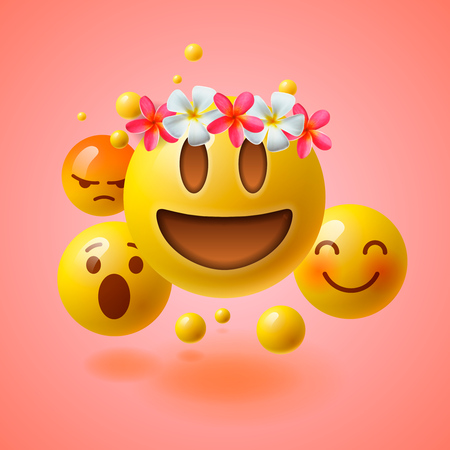 Illustrazione per Realistic yellow emoticons with flower on head, summer concept, emoji with wreath flowers on head, vector illustration. - Immagini Royalty Free