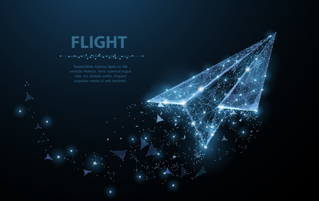Illustration for Paper airplane. Polygonal mesh art looks like constellation. Concept illustration or background - Royalty Free Image