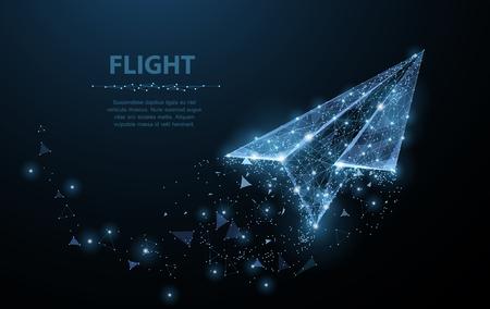 Illustration pour Paper airplane. Polygonal mesh art looks like constellation. Concept illustration or background - image libre de droit