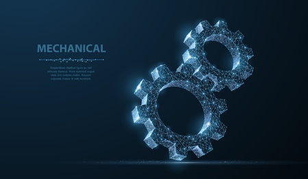 Illustration pour Gears. Abstract vector wireframe two gear 3d modern illustration on dark blue background. Mechanical technology machine engineering symbol. Industry development, engine work, business solution concept - image libre de droit