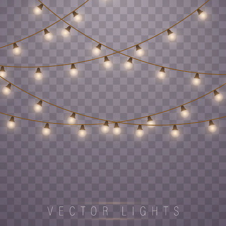 Illustration pour Christmas lights isolated on transparent background. Led neon lamp. Glowing lights for Xmas Holiday cards, banners, posters, web design. Garlands decorations. - image libre de droit