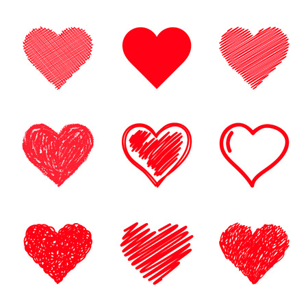 Photo pour Vector hearts set. Hand drawn. - image libre de droit