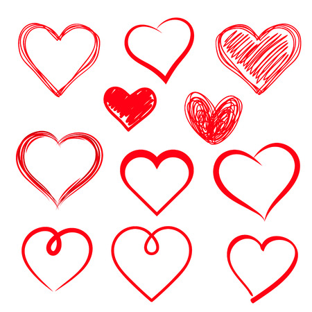 Illustration pour Vector hearts set. Hand drawn. - image libre de droit