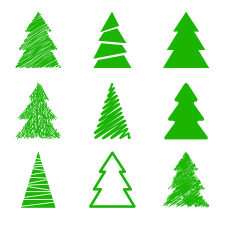 Illustration pour Set of christmas trees - image libre de droit