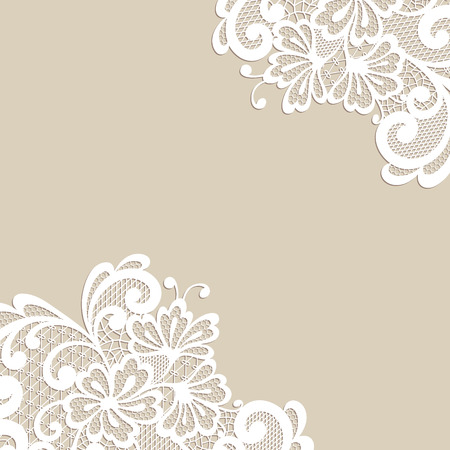 Illustration pour White flower corner, lace ornament - image libre de droit