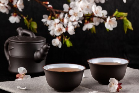 Photo for Chinese brown teapot and cups for tea - Royalty Free Image