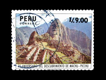 Foto de Cancelled postage stamp printed by Peru, that shows Machu Picchu, circa 1987. - Imagen libre de derechos
