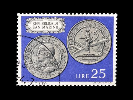 Foto de Cancelled postage stamp printed by San Marino, that shows Old coins, circa 1972. - Imagen libre de derechos