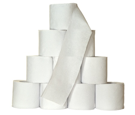 A pyramid made of ten rolls of toiletpaper