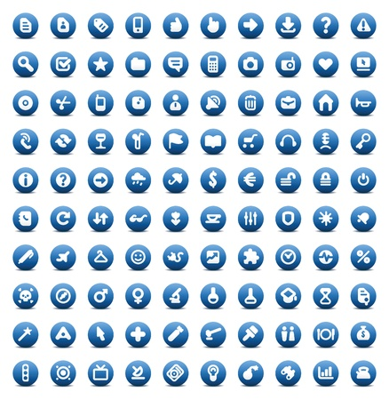 100 web, business, media and leisure icons set. Blue vector buttons.