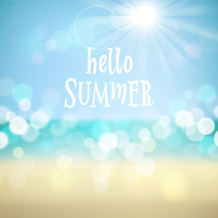 Ilustración de Hello summer. Poster on tropical beach background. Vector eps10. - Imagen libre de derechos