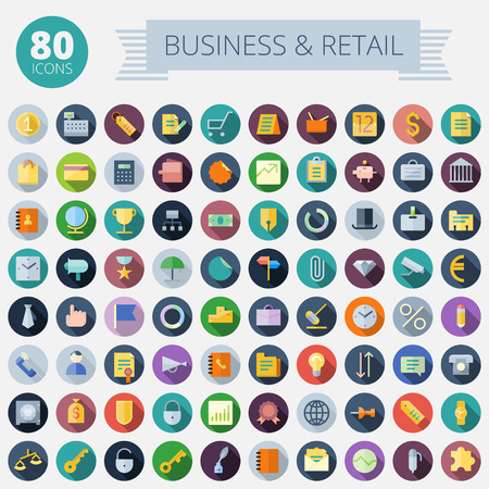Ilustración de Flat Design Icons For Business, Banking and Retail  Easy to recolor  Transparent shadows and relief in separate layers  - Imagen libre de derechos
