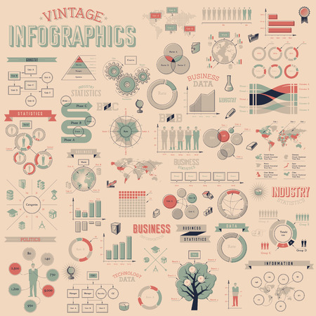 Photo pour Vintage infographics with data icons, world map charts and design elements. Vector illustration. - image libre de droit