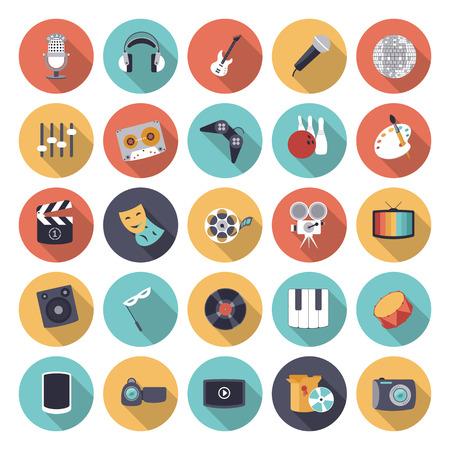 Ilustración de Flat design icons for leisure and entertainment. Vector eps10 with transparency. - Imagen libre de derechos