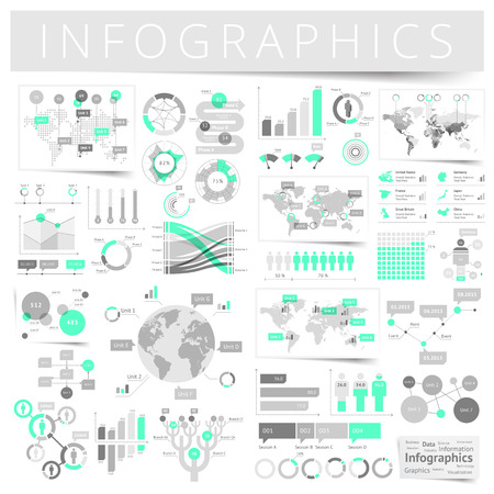 Illustration pour Infographics with data icons, world map charts and design elements. Vector illustration. - image libre de droit