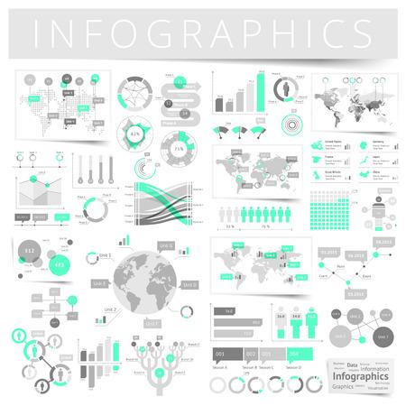 Ilustración de Infographics with data icons, world map charts and design elements. Vector illustration. - Imagen libre de derechos
