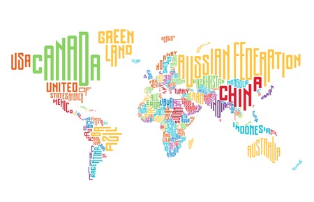 Ilustración de World map made of typographic country names. Vector illustration. - Imagen libre de derechos