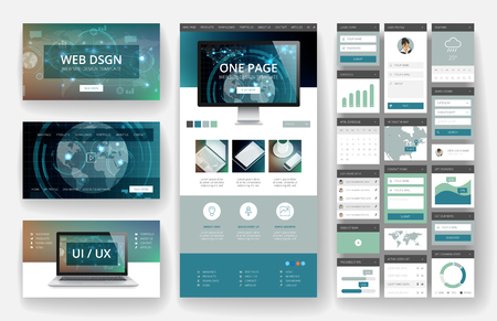 Illustration pour Website template, one page design, headers and interface elements. Technology HUD global connections backgrounds. - image libre de droit