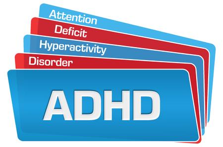 Foto de ADHD - Attention Deficit Hyperactivity Disorder Red Blue Rounded Squares - Imagen libre de derechos