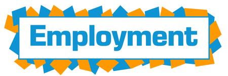 Photo for Employment Blue Orange Random Shapes Horizontal - Royalty Free Image