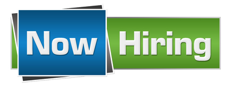 Photo for Now Hiring Green Blue Horizontal - Royalty Free Image
