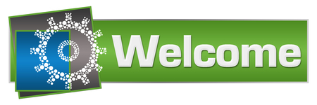Photo for Welcome Dotted Gear Green Blue Squares Horizontal - Royalty Free Image