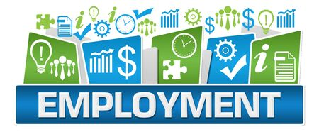 Photo for Employment Green Blue Business Symbols On Top - Royalty Free Image