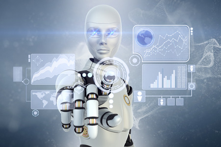 Photo pour Robot using a futuristic interface - image libre de droit