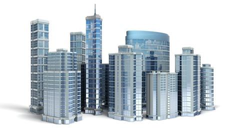 Foto de Business center. Office buildings on white - Imagen libre de derechos