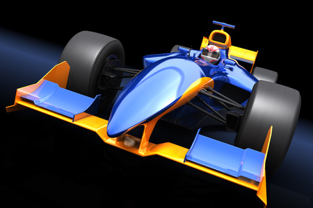 Photo for Generic blue race car on the black background - Royalty Free Image