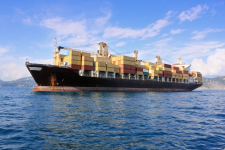 container ship outside harbor