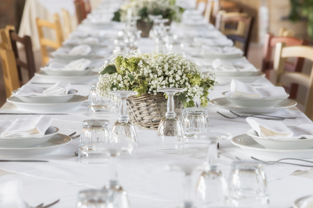 Photo for white table set for party - Royalty Free Image