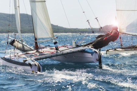 Foto per Sailing boat race, catamaran in regatta - Immagine Royalty Free