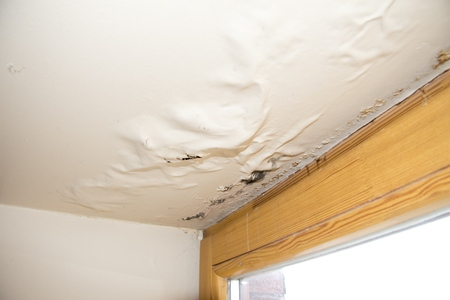 Photo pour water leaking on the roof plaster - image libre de droit