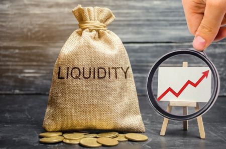 Foto de Money bag and arrow up. Increase liquidity and profitability of investments. High interest rates on deposits and securities. Profitable shares. Promising markets. Growth economy. Financial bubble - Imagen libre de derechos