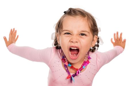 Photo for Angry Little Girl Screaming - Royalty Free Image