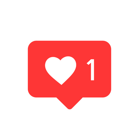 Illustrazione per Notifications icon. Like icon vector. social media Like vector icon. Instagram like notification - Immagini Royalty Free