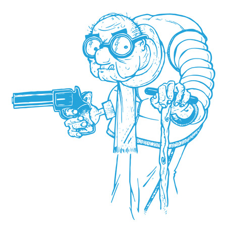 Illustration pour Old Man with a Gun - image libre de droit